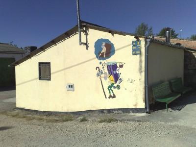 Vicces falra festett kép a Caminon